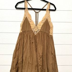 Free People Brown Mini Dress Crochet Lace Details